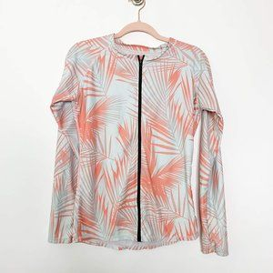 Palm Tree Print Full Zip Rash guard Jacket #4438